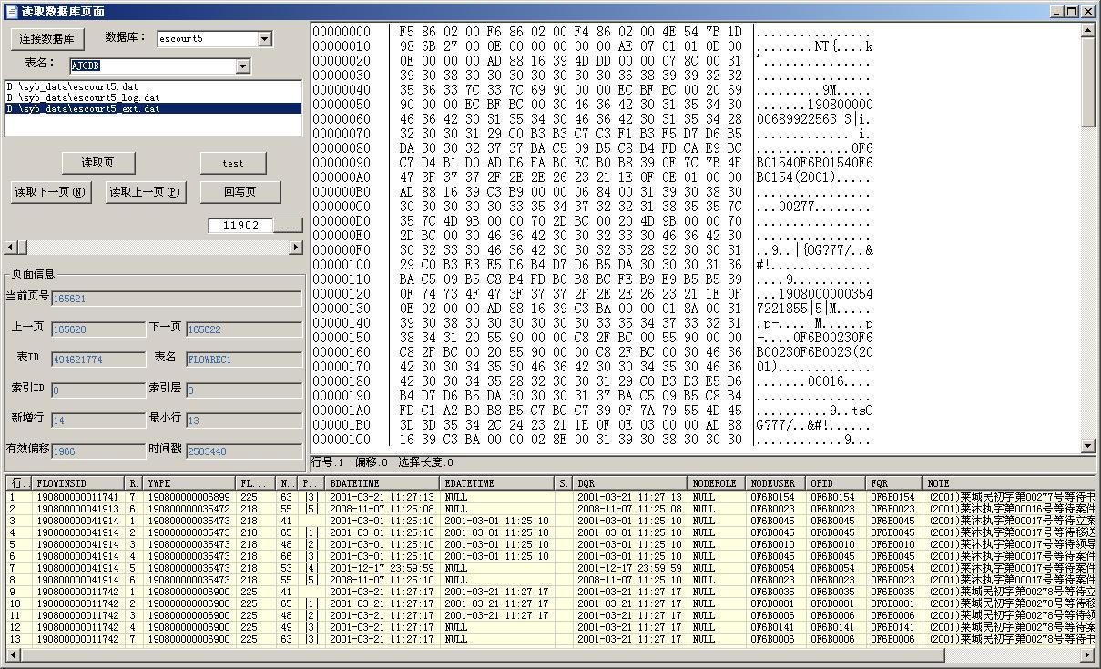 读取的Sybase数据库内页面上的数据