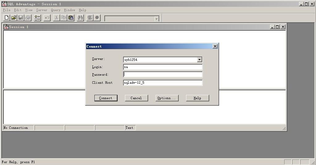 Sybase SQL Advantage主窗口界面